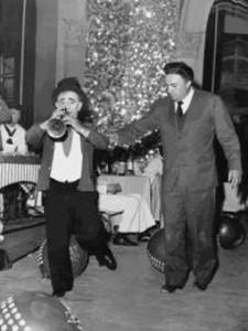 Il clown Polidor sul set con Fellini