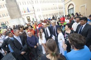 La manifestazione davanti a Montecitorio (foto Silvia Ottaviano)