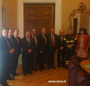 Un'altra foto di gruppo delle delegazioni Enc e Anesv riunite ieri al ministero dell'interno: il primo da sinistra è il segretario generale Anesv, Maurizio Crisanti