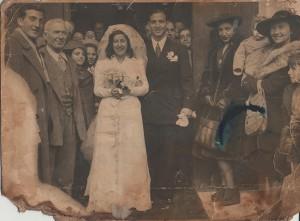 Una rara immagine del matrimonio di Wally e Leonida