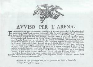 L'avviso della Compagnia di Saltatori Spagnoli all'Arena