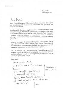 Il biglietto autografo di Gianni Letta al presidente Enc, Antonio Buccioni
