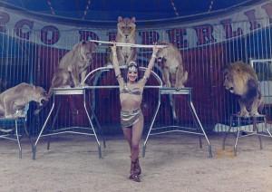 Gilda in gabbia coi leoni