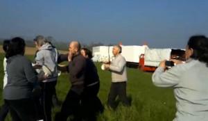 Una immagine dello scontro avvenuto davanti al circo e che è costato la vita a Roberto Gerardi