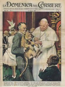 La celebre copertina della Domenica del Corriere che ritrae Orlando Orfei con Papa Giovanni XXIII