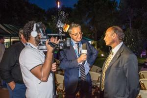 Il presidente Buccioni, artefice dell'omaggio del circo al cinema, intervistato da Curzio Pettenò (Il servizio fotografico è di Andrea Giachi)