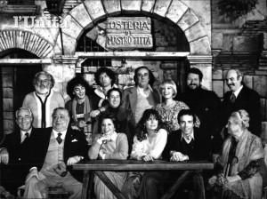 Rugantino di Garinei e Giovannini (1978). Ben riconoscibili in questa foto dell'archivio de L'Unità, Aldo Fabrizi, Enrico Montesano, Bice Valori e Alida Chelli
