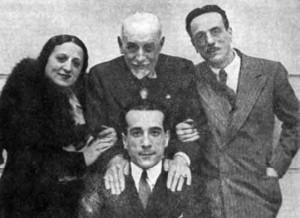 Titina, Peppino ed Eduardo De Filippo con Luigi Pirandello