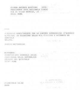 Il telegramma del presidente Mattarella