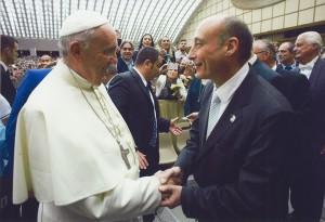 Il presidente Buccioni con Papa Francesco lo scorso t maggio