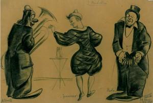 Un'illustrazione raffigurante il Trio Fratellini conservata al Cedac di Verona