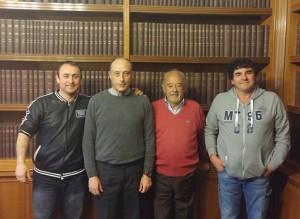 Da sinistra, Emanuele Farina, Antonio Buccioni, Lorenzo Scarpellini e Roberto Caroli stamattina all'Agis di Roma